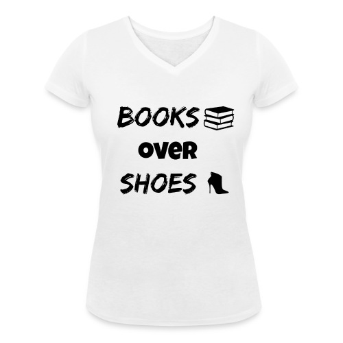 Books Over Shoes Heel - Women's Organic V-Neck T-Shirt by Stanley & Stella