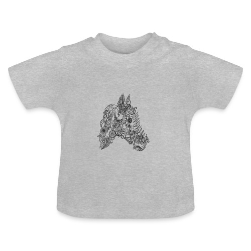 Kinder -T-Shirt Blumenpferd grau - Baby T-Shirt