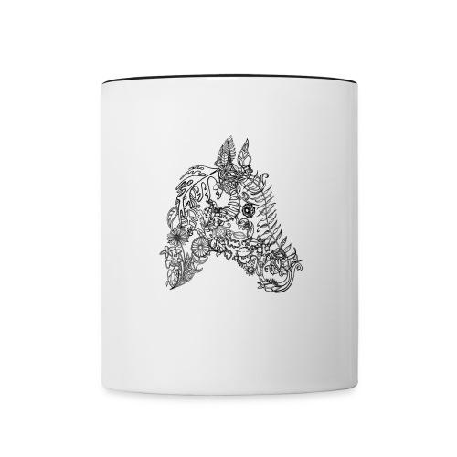 Tasse Blumenpferd schwarz-weiß - Tasse zweifarbig