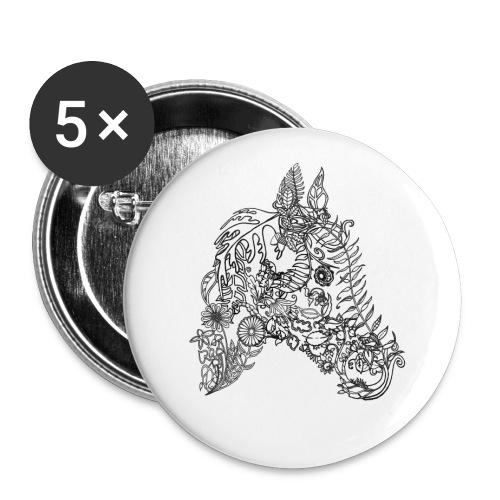 Button  Blumenpferd 56mm - Buttons groß 56 mm