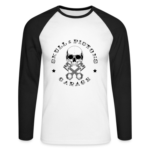 Skull & Pistons Garage Baseball Top - Men's - Men's Long Sleeve Baseball T-Shirt