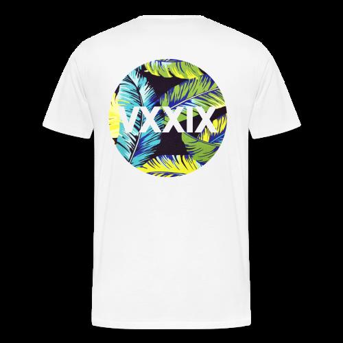 Palm Leaves Handwritten Kdh Logo with VXXIX Back Print Mens - Men's Premium T-Shirt