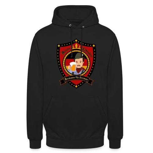 Hermann Crest Hoodie Black Front - Unisex Hoodie