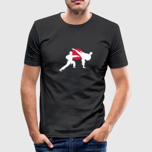 two karate fighter  T-Shirts - Men's Slim Fit T-Shirt