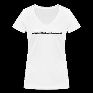 Hansestadt Hamburg Skyline (Schwarz) V-Neck T-Shirt - Frauen Bio-T-Shirt mit V-Ausschnitt von Stanley & Stella