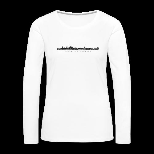 Hansestadt Hamburg Skyline (Schwarz) Langarmshirt - Frauen Premium Langarmshirt