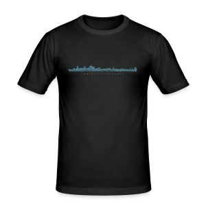 Hansestadt Hamburg Skyline (Blau) Slim Fit T-Shirt - Männer Slim Fit T-Shirt