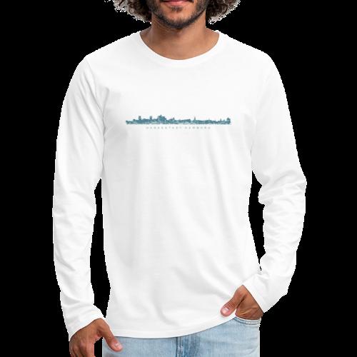 Hansestadt Hamburg Skyline (Blau) Langarmshirt - Männer Premium Langarmshirt