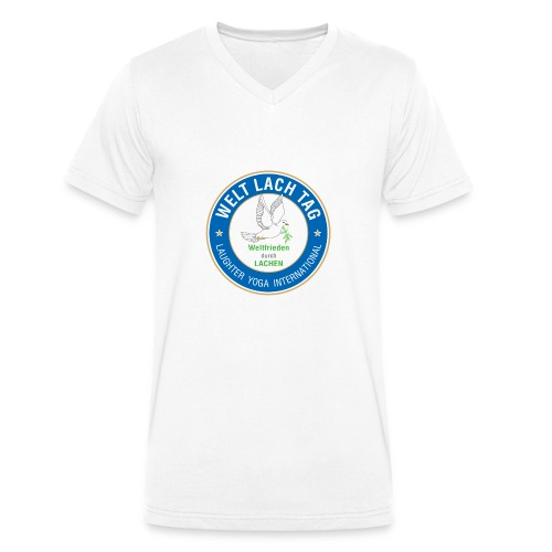 WELTLACHTAG T-Shirt mit aktuellem Logo - Männer Bio-T-Shirt mit V-Ausschnitt von Stanley & Stella