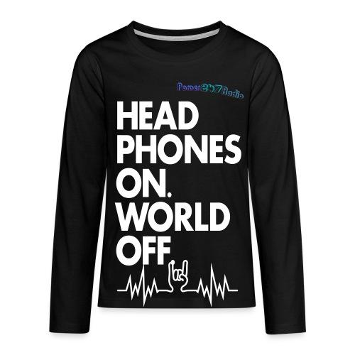 Headphones On, World Off - Teenagers' Premium Longsleeve Shirt