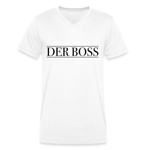 DER BOSS white - Männer Bio-T-Shirt mit V-Ausschnitt von Stanley & Stella