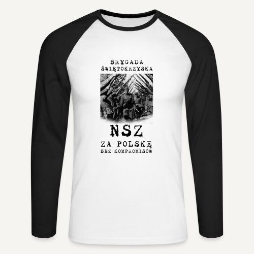 Brygada Świętokrzyska NSZ - Koszulka męska bejsbolowa z długim rękawem