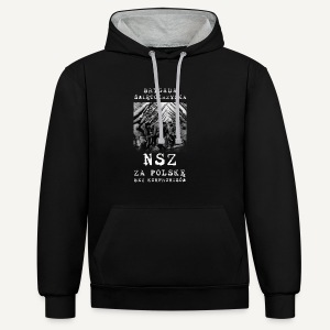 Brygada Świętokrzyska NSZ - Bluza z kapturem z kontrastowymi elementami