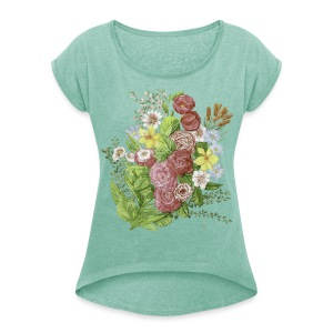 Bunte Blumen - Women's T-shirt with rolled up sleeves