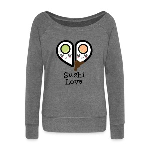Dark grey heather Sushi love Hoodies & Sweatshirts - Women's Boat Neck Long Sleeve Top