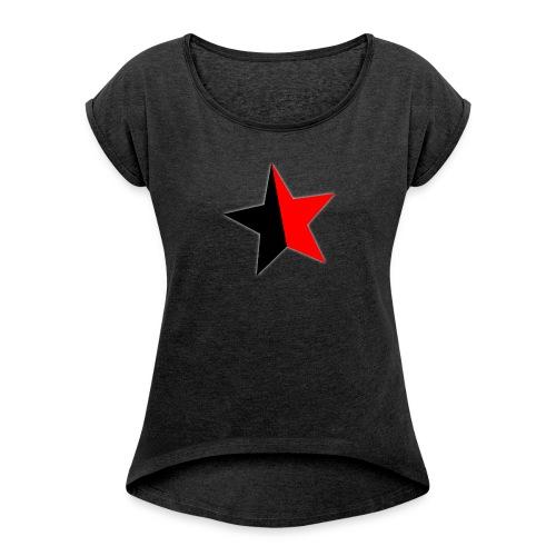 Anarchokommunism Girlshirt schwarz - Frauen T-Shirt mit gerollten Ärmeln