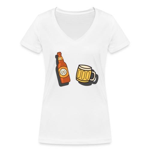 €B T-Shirt Bier & Krug - Frauen Bio-T-Shirt mit V-Ausschnitt von Stanley & Stella
