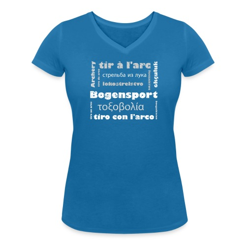Bogensport in 12 Sprachen auf Frauen T-Shirt mit V-Ausschnitt - Frauen Bio-T-Shirt mit V-Ausschnitt von Stanley & Stella