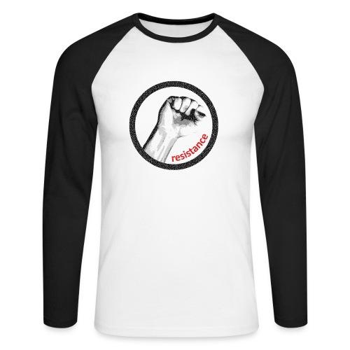 Resistance Langarmshirt schwarz/weiß m - Männer Baseballshirt langarm