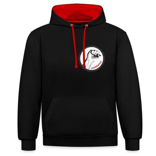 Resistance Kapuzenshirt schwarz/rot  - Kontrast-Hoodie
