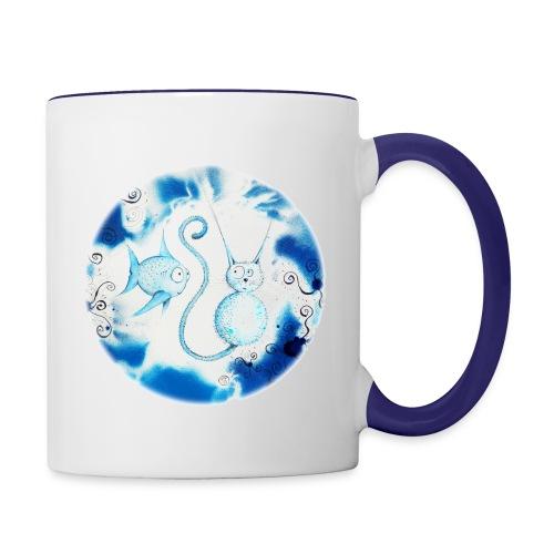 Mug contrasté - chat ; poisson ; Sillousoune ; cadeau ; mug ; tasse