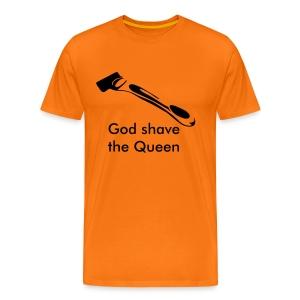 God shave the Queen oranje shirt - Mannen Premium T-shirt