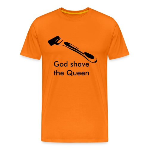 God shave the Queen oranje shirt - Mannen Premium T-shirt