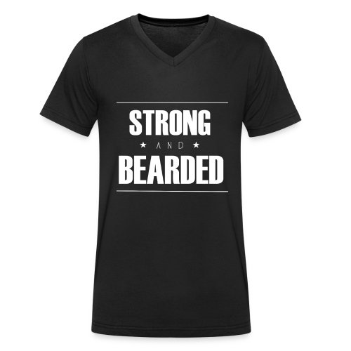 T-Shirt Strong&Bearded col V blanc - T-shirt bio col V Stanley & Stella Homme