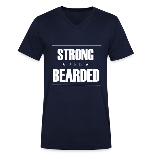 T-Shirt Strong&Bearded blanc col V - T-shirt bio col V Stanley & Stella Homme