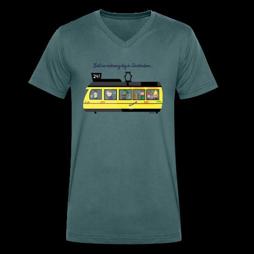 Amsterdam Tram - Mannen bio T-shirt met V-hals van Stanley & Stella