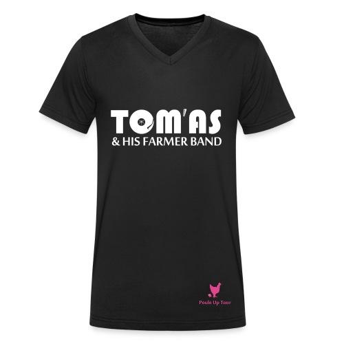 T shirt homme - THFB / Poule Up - Noir / COL V  - T-shirt bio col V Stanley & Stella Homme