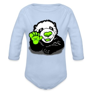 Waving Happy Panda Lime - Longsleeve Baby Bodysuit