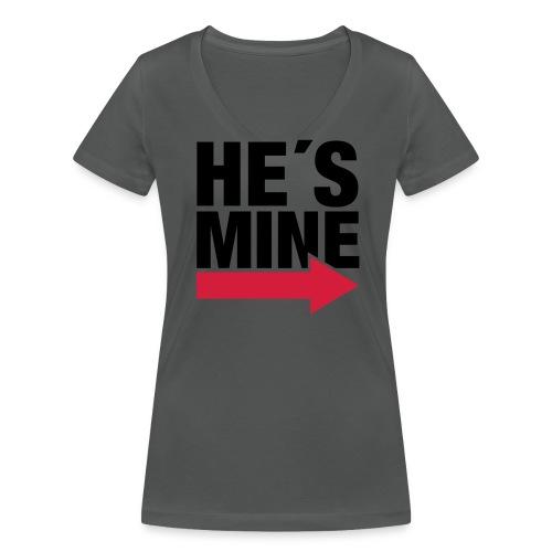 He's Mine Damen V-Shirt - Frauen Bio-T-Shirt mit V-Ausschnitt von Stanley & Stella