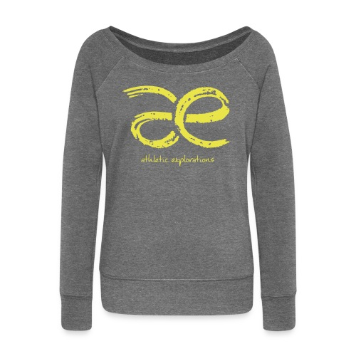 W yellow | gelbes æ logo - Women's Boat Neck Long Sleeve Top