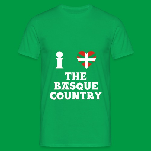 Male I Love The Basque Country T-Shirt (On Green) - Men's T-Shirt