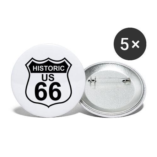 Buttons 56 mm Historic US 66, 5er Pack - Buttons groß 56 mm (5er Pack)