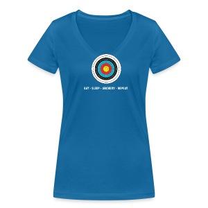 Frauen T-Shirt mit V-Ausschnitt - EAT - SLEEP - ARCHERY - REPEAT - Frauen Bio-T-Shirt mit V-Ausschnitt von Stanley & Stella
