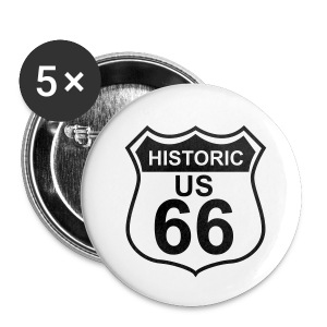 Buttons 32 mm Historic US 66, 5er Pack - Buttons mittel 32 mm