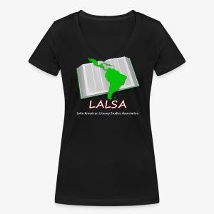 LALSA Womens V-neck T-Shirt w/Light lettering - Women's Organic V-Neck T-Shirt by Stanley & Stella