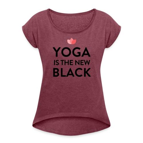 New Yoga Tee fire - Frauen T-Shirt mit gerollten Ärmeln