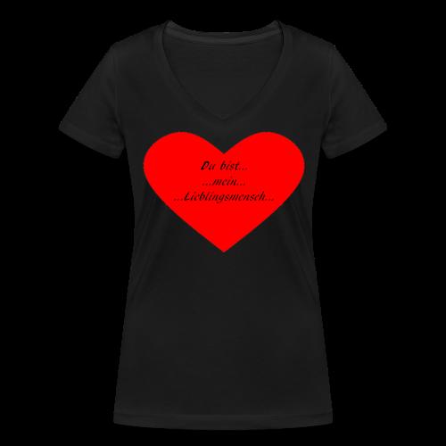 T-Shirt mit Herz und Aufschrift Du bist mein Lieblingsmensch - Frauen Bio-T-Shirt mit V-Ausschnitt von Stanley & Stella