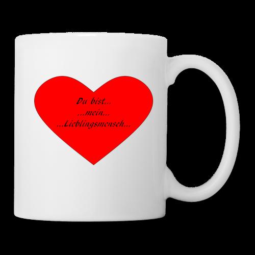 Kaffee-Tasse mit rotem Herz und Aufschrift Du bist mein Lieblingsmensch - Tasse