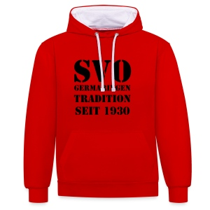 Fan-Kapuzenpullover Tradition seit 1930 in rot - Kontrast-Hoodie