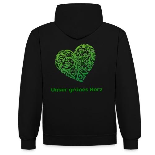 Unser grünes Herz Kontrast Pulli Frauen - Kontrast-Hoodie