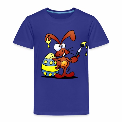 The Easter Bunny is painting an Easter egg - Kids' Premium T-Shirt