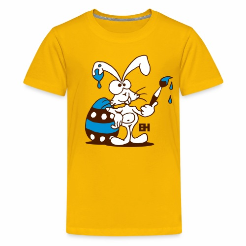 The Easter Bunny is painting an Easter egg - Teenage Premium T-Shirt