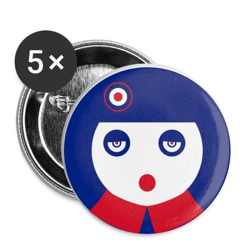 chapa clip pin pop girl mod chica - Paquete de 5 chapas grandes (56 mm)