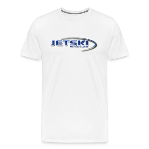 Vit t shirt logga bröstet jetski tryck ryggen - Premium-T-shirt herr