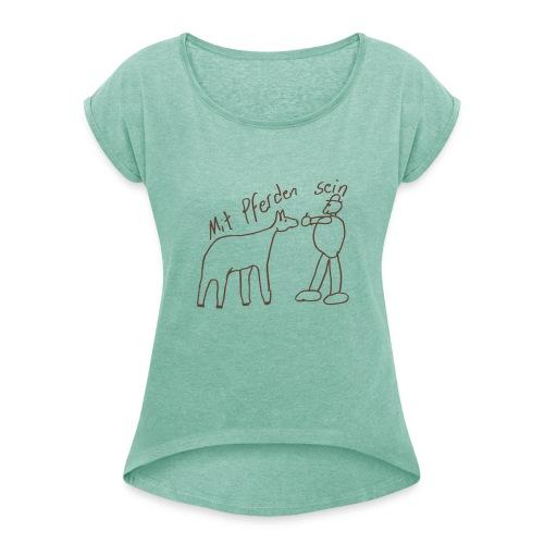 Naiv Print, Boyfriend Shirt (Print: Digital Chocolate)  - Frauen T-Shirt mit gerollten Ärmeln