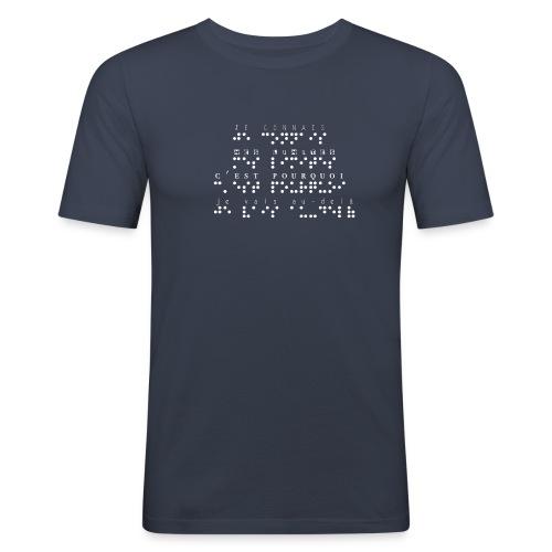 T-shirt près du corps Homme - Modèle : je connais mes limites, c'est pourquoi je vais au delà Ecriture blanche pour vêtements ou accessoires foncés